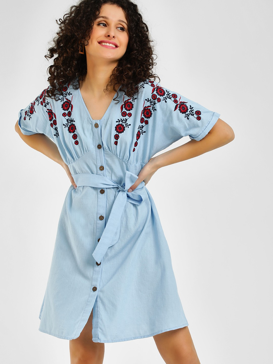 Rena Love Powder Blue Button Detail Embroidered Shift Dress 1