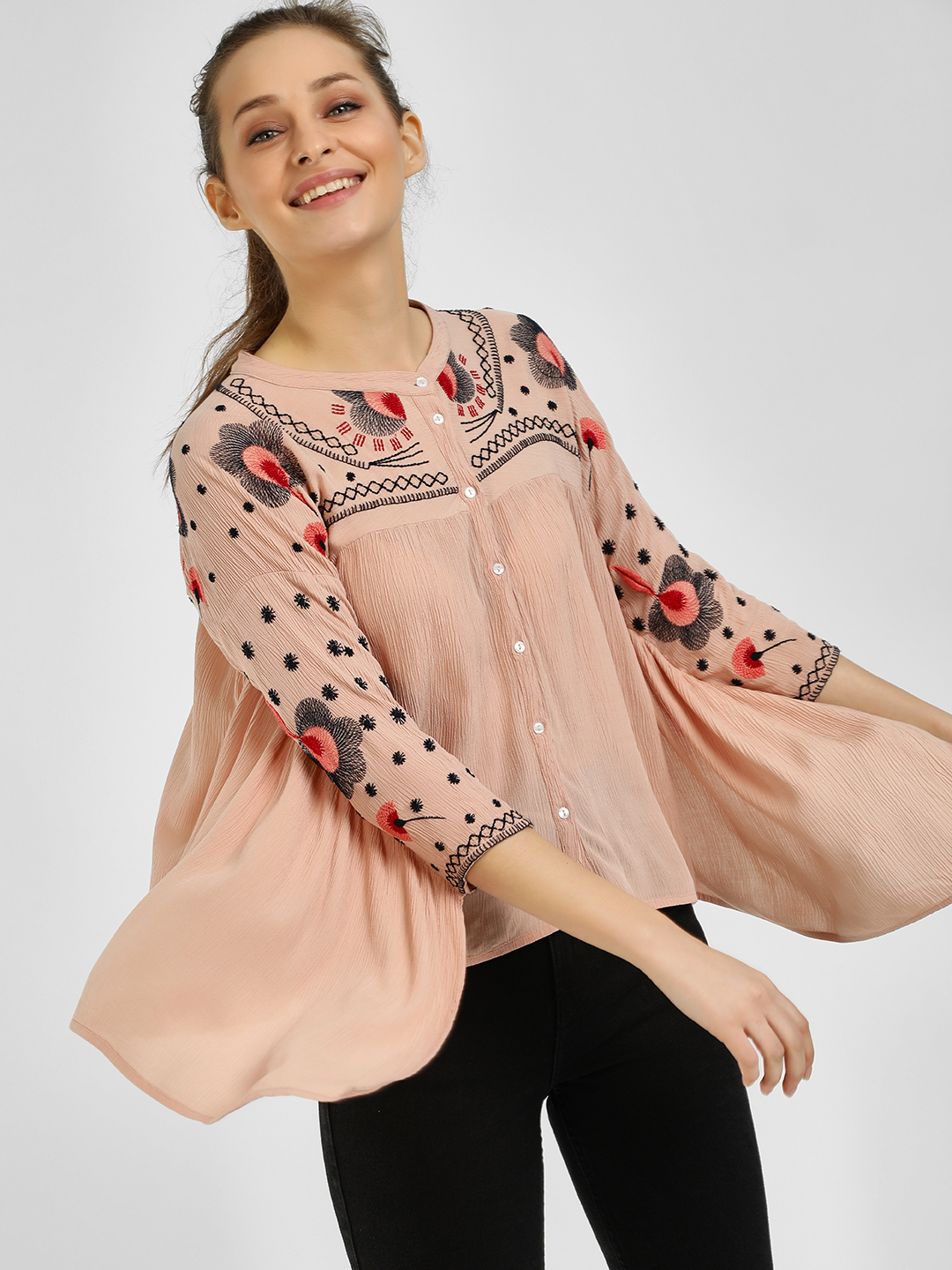 Rena Love Peach Batwing Detail Embroidered Blouse 1