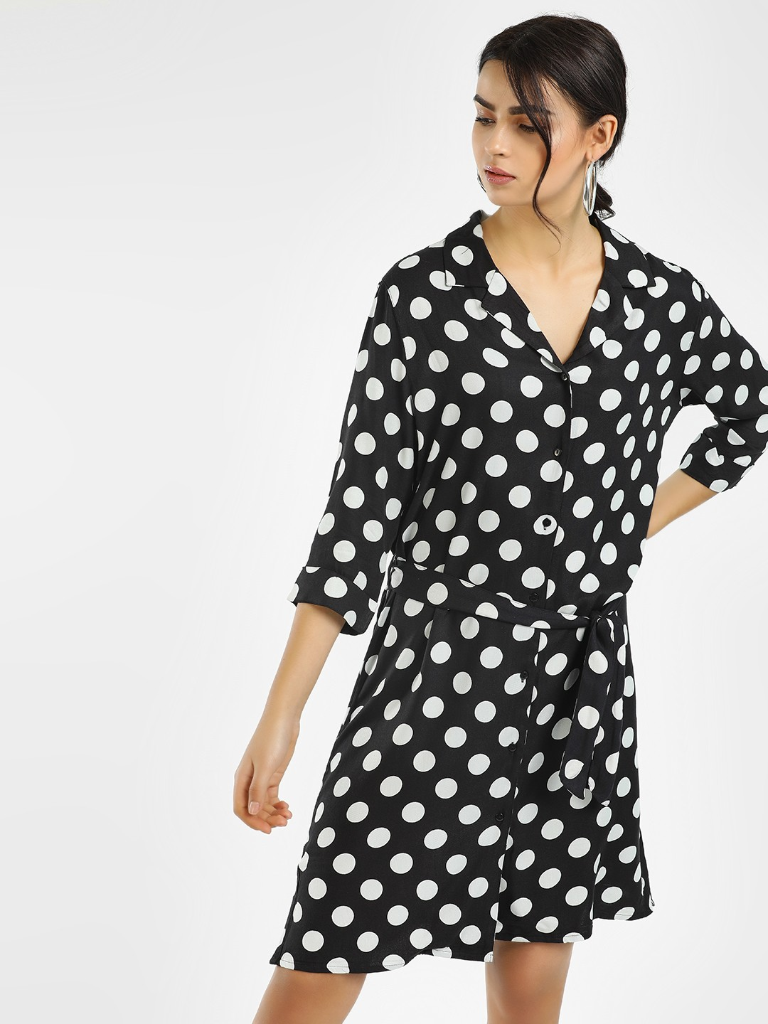Only Black Polka Dot Print Shirt Dress 1