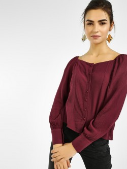 Only Button-Front Cuffed Sleeve Blouse