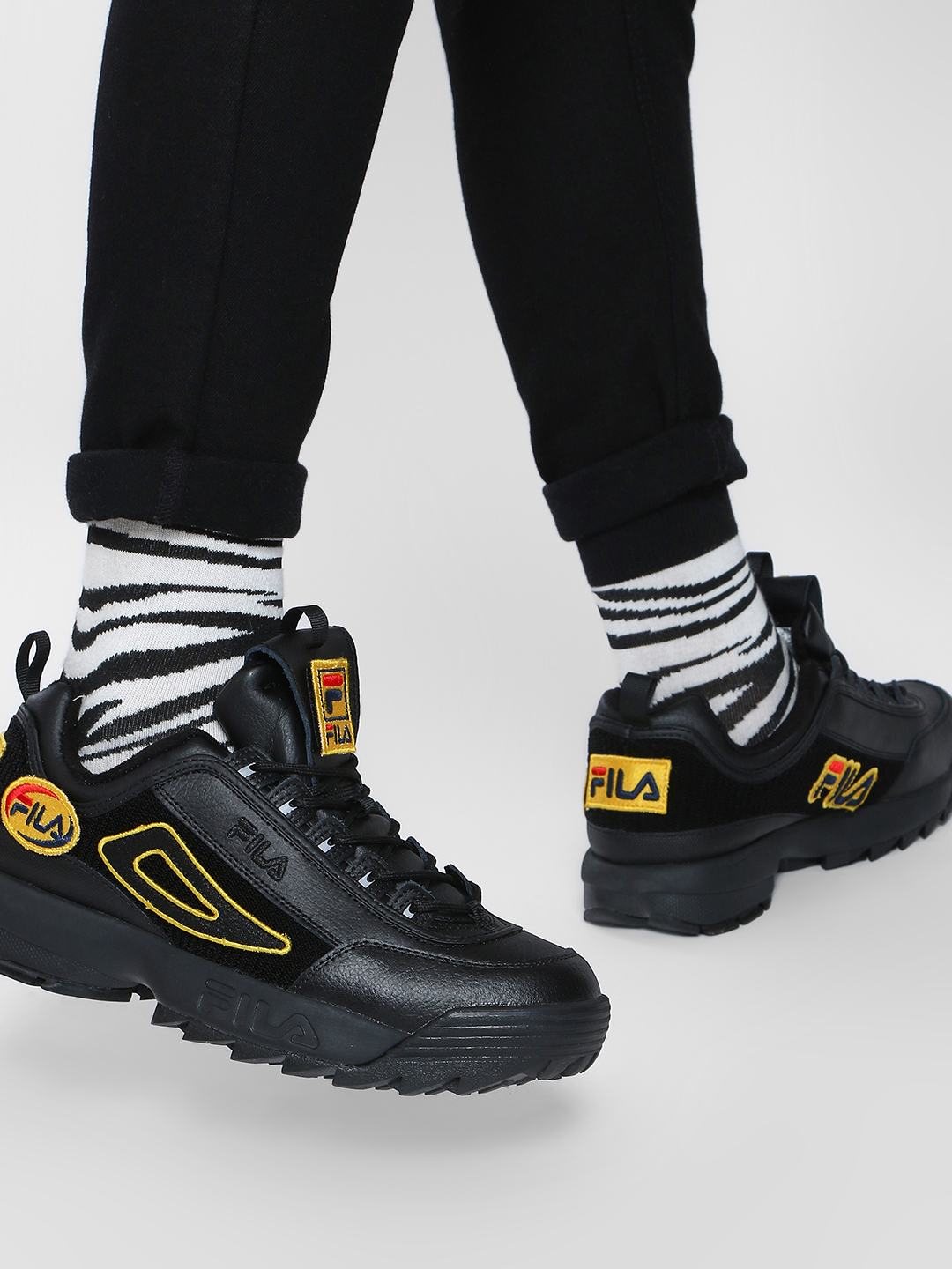 Fila Black HERITAGE Disruptor II Patches Trainers 1
