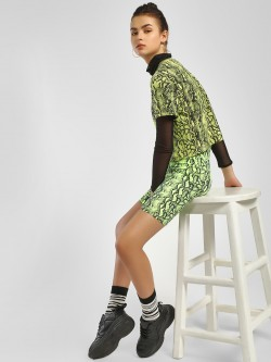 KOOVS Snake Print Cycling Shorts
