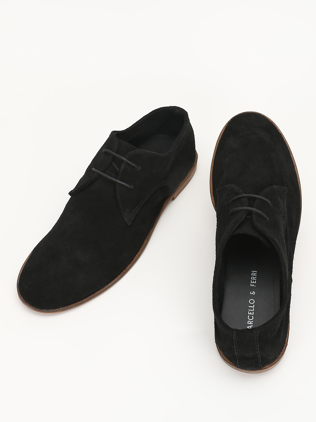 Marcello & Ferri Black Suede Leather Derby Shoes 1