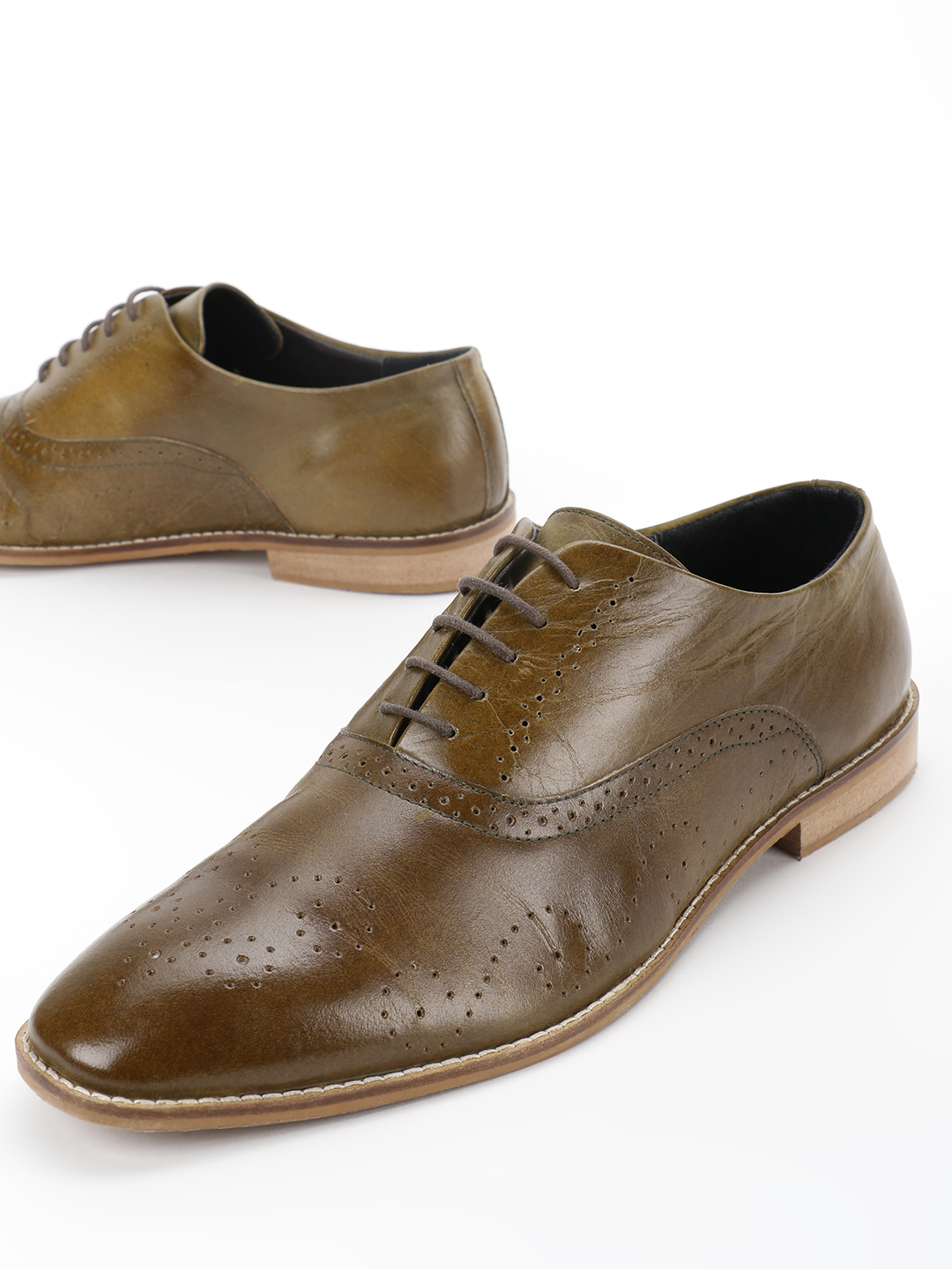 Marcello & Ferri Green Leather Brogue Punches Oxford Shoes 1