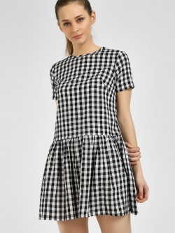 Daisy Street Checkered Mini Skater Dress