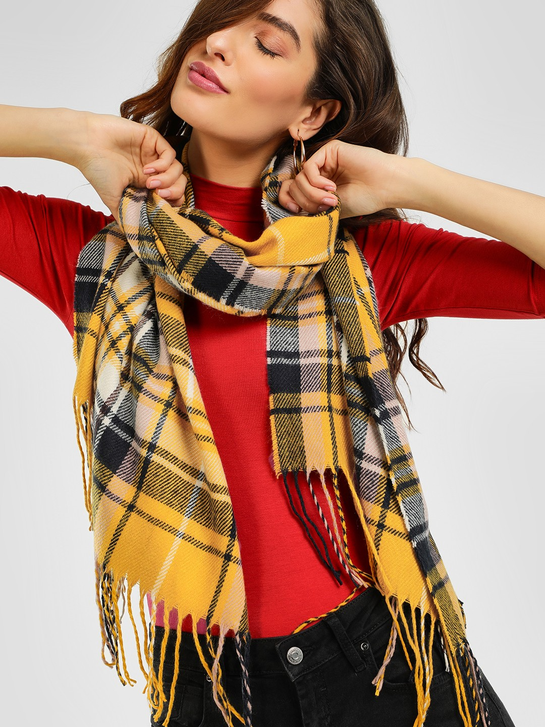 New Look Multi Check Woven Fringed Scarf 1