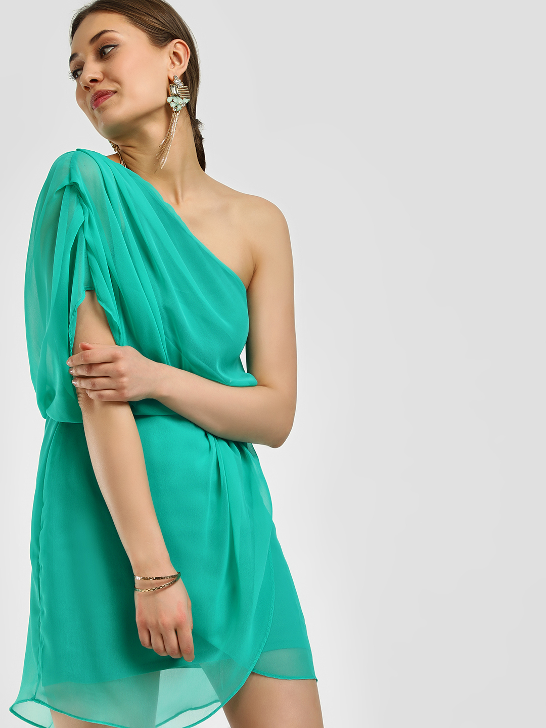 Noble Faith Green One Shoulder Shift Dress 1