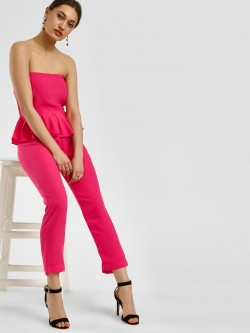 Noble Faith Ruffle Bardot Neckline Jumpsuit