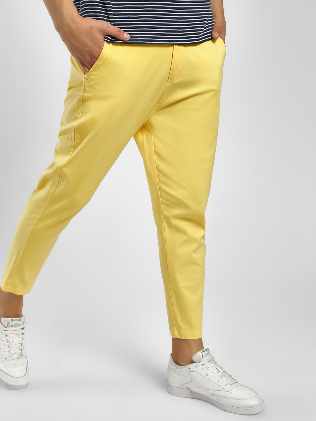 Spring Break Yellow Slim Fit Cropped Trousers 1