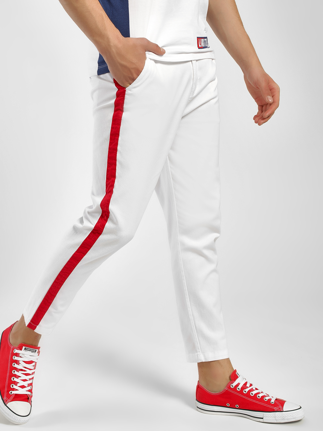 Spring Break White Side Stripe Trousers 1