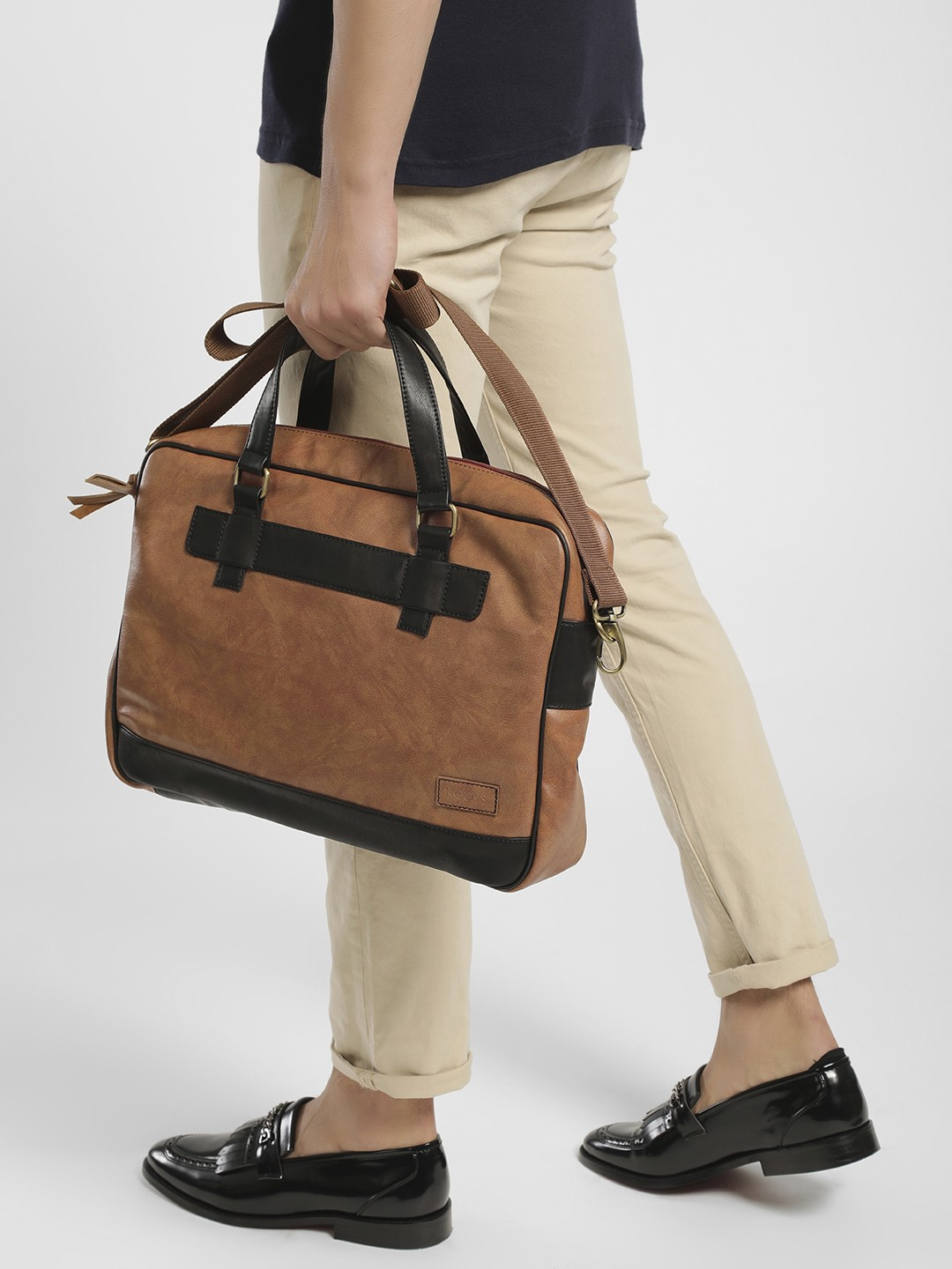 KOOVS Brown Dual Colour Laptop Bag 1