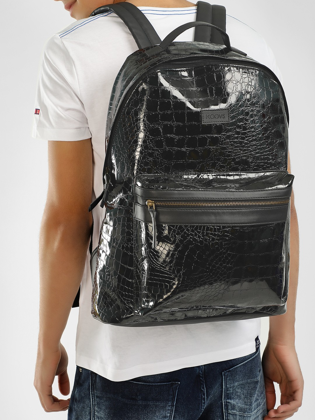KOOVS Black Crocskin Glossy Finish Backpack 1