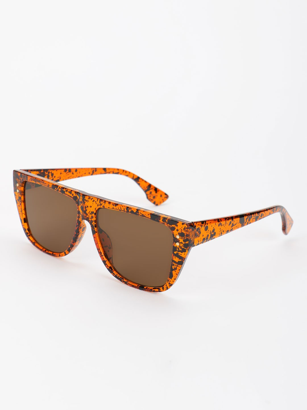 Pataaka Brown Blotch Ink Detail Classic Sunglasses 1