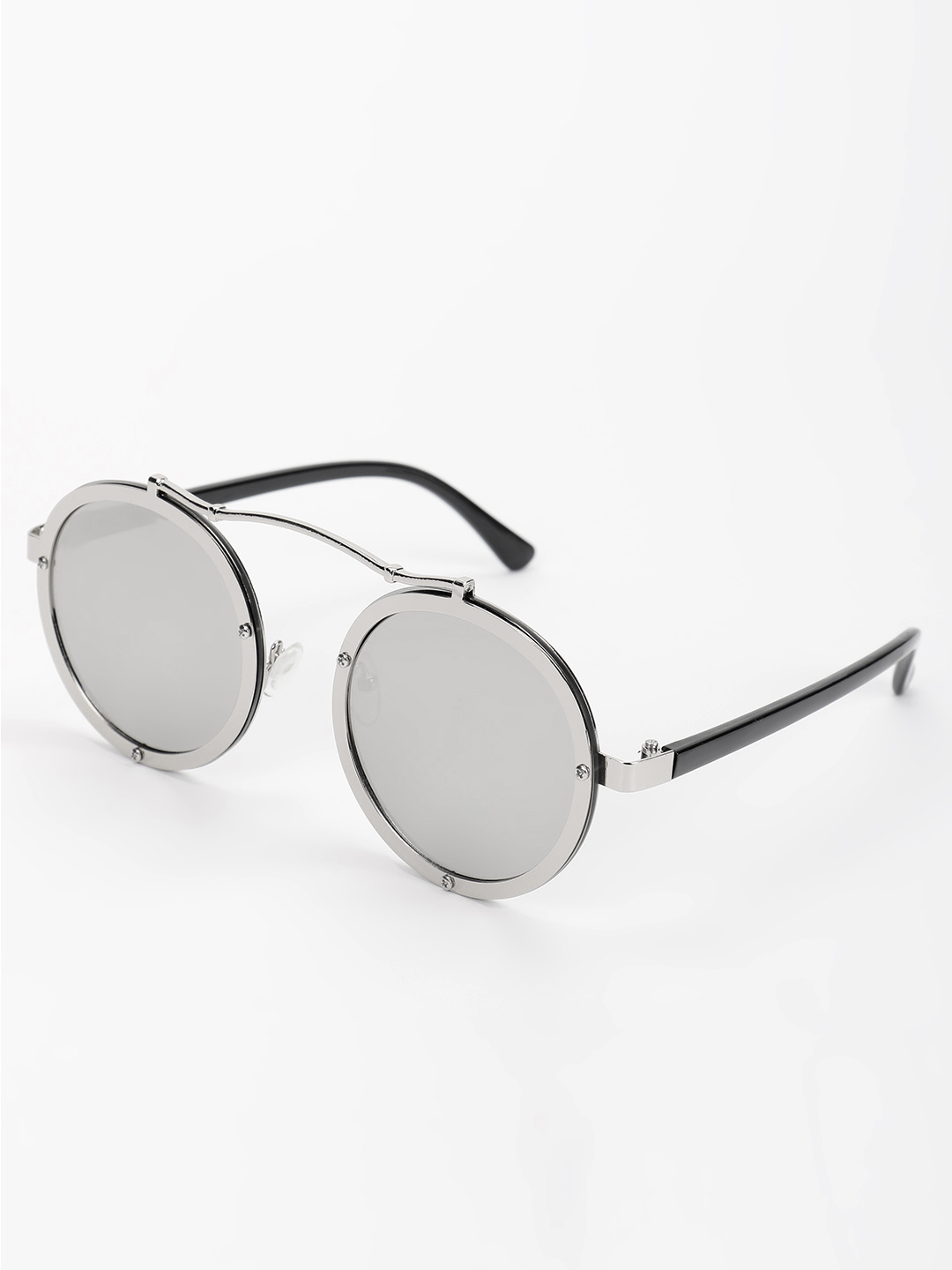 Pataaka Grey Browbar Metallic Round Sunglasses 1