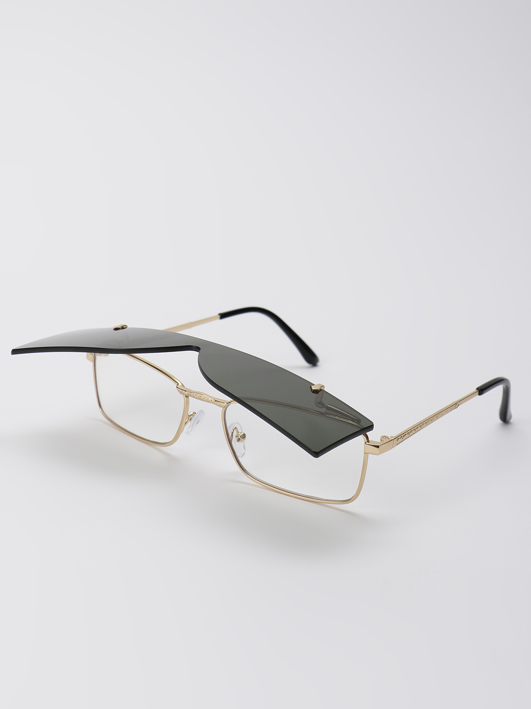 Pataaka Black Flip-Up Clear Lens Classic Sunglasses 1