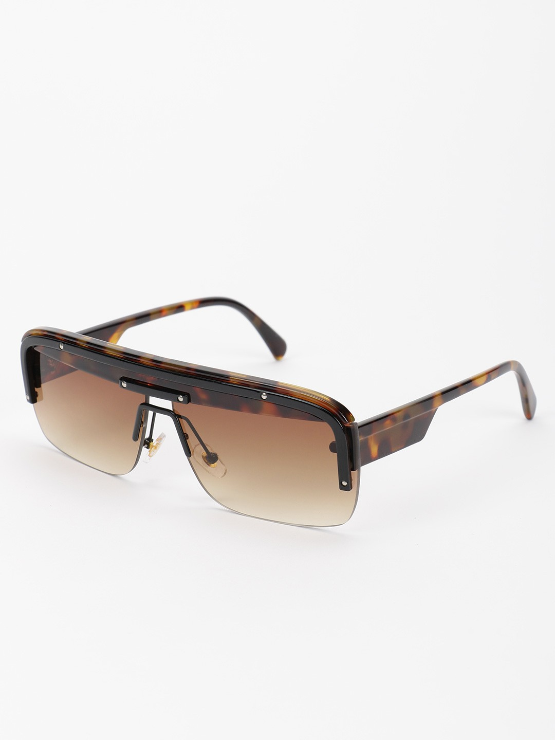 Pataaka Brown Wide Frame Retro Sunglasses 1
