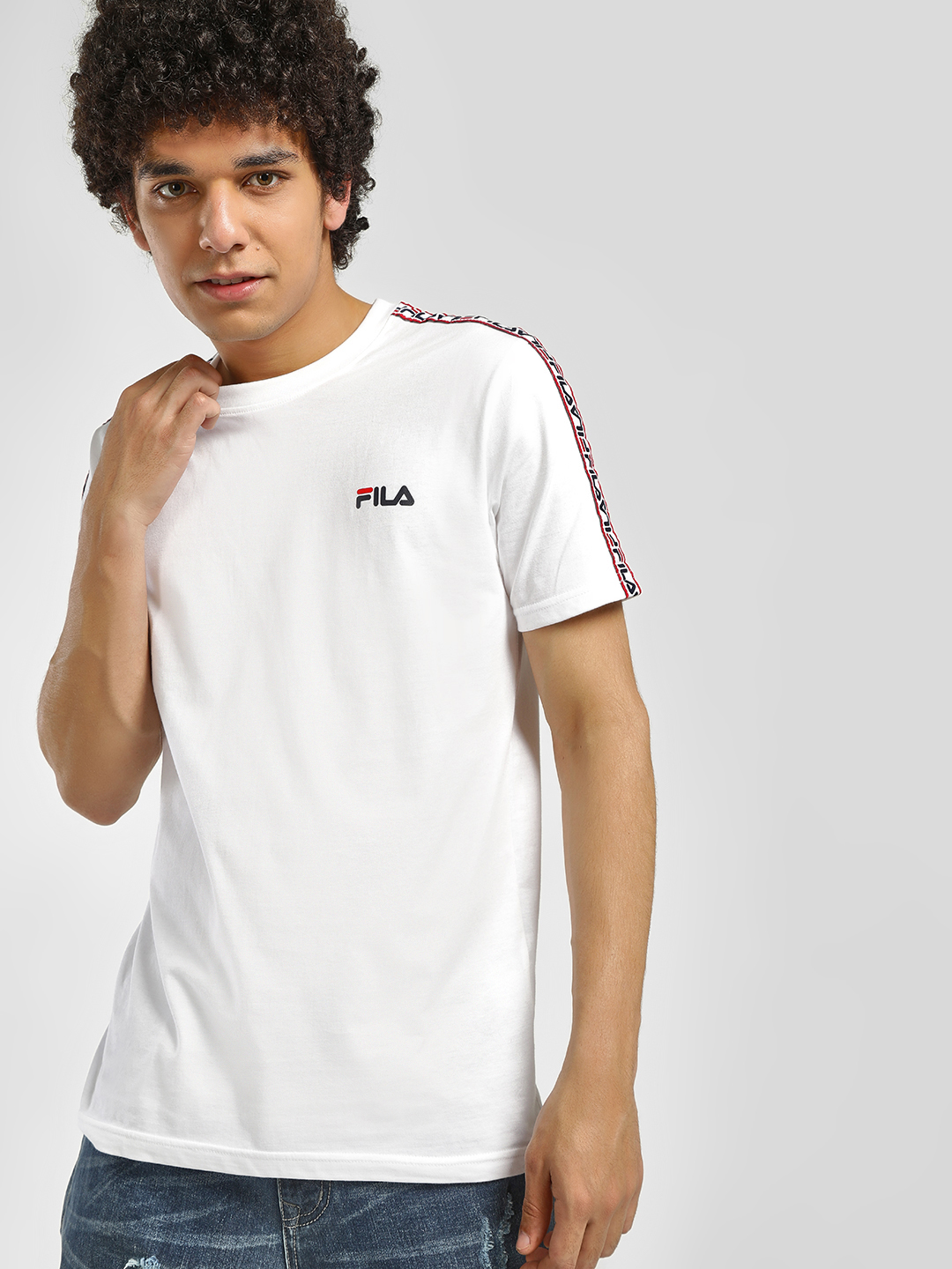 Fila White Slogan Tape T-Shirt 1