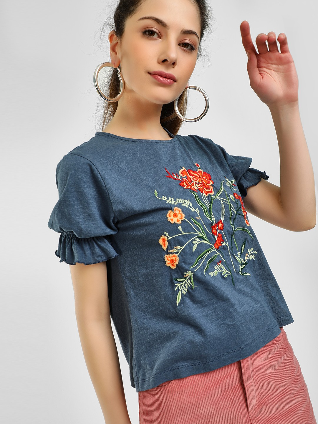 Sbuys Blue Floral Embroidered Ruffle Sleeve Blouse 1