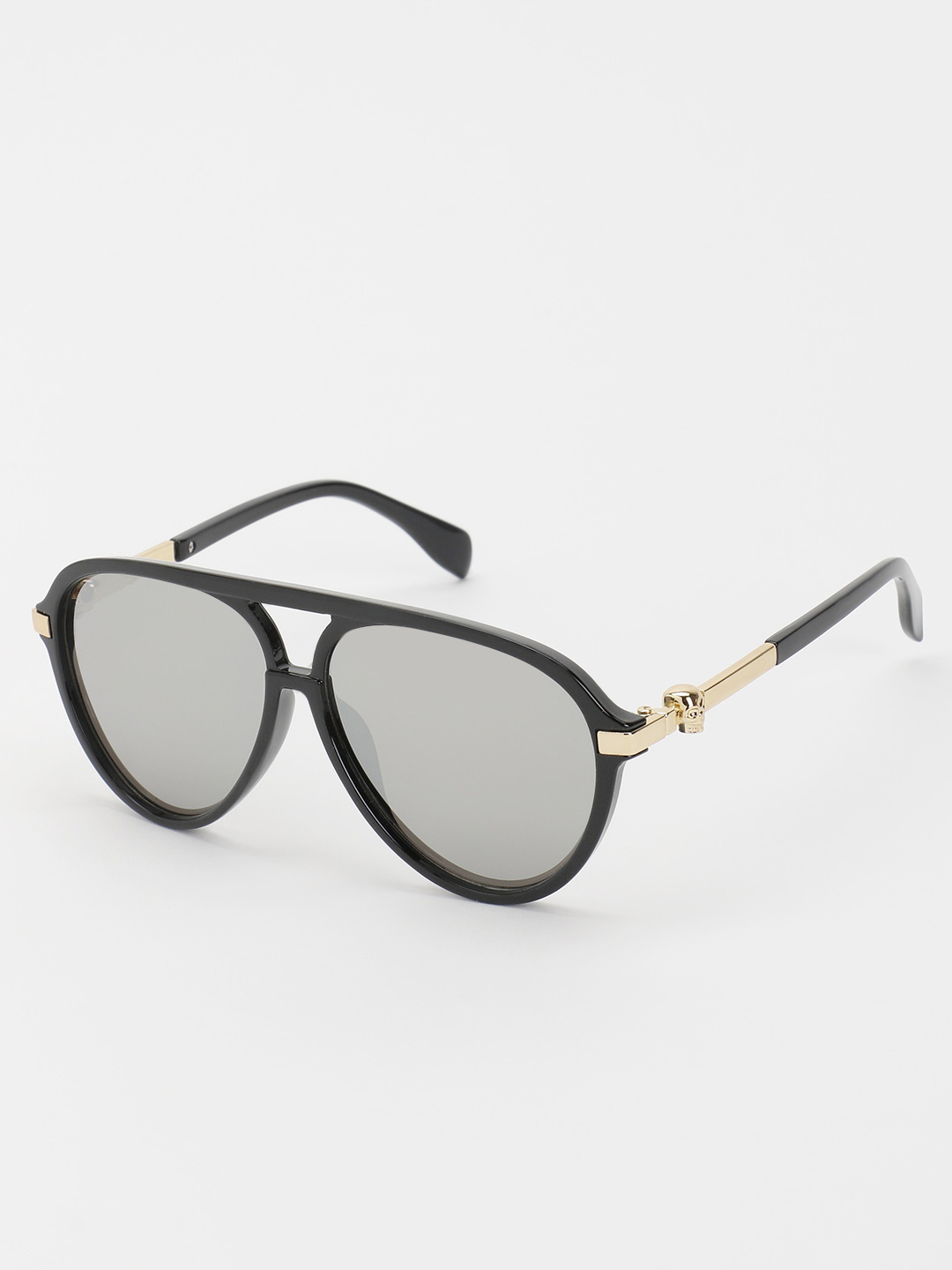 KOOVS Black Mirrored Lens Pilot Sunglasses 1