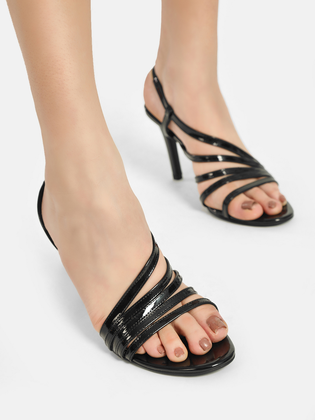 KOOVS Black Patent Slingback Heeled Sandals 1