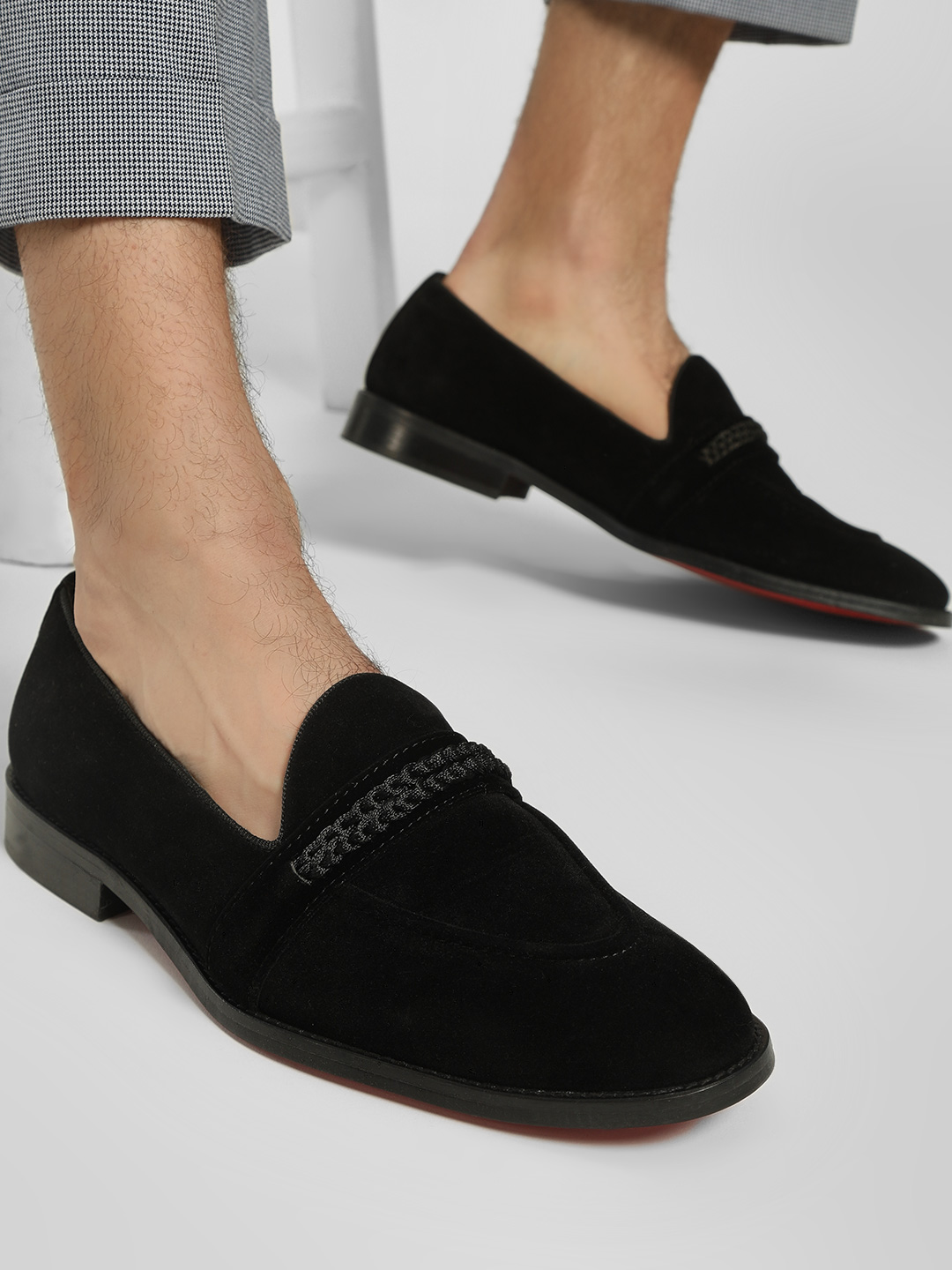 Griffin Black Knotted Suede Penny Loafers 1