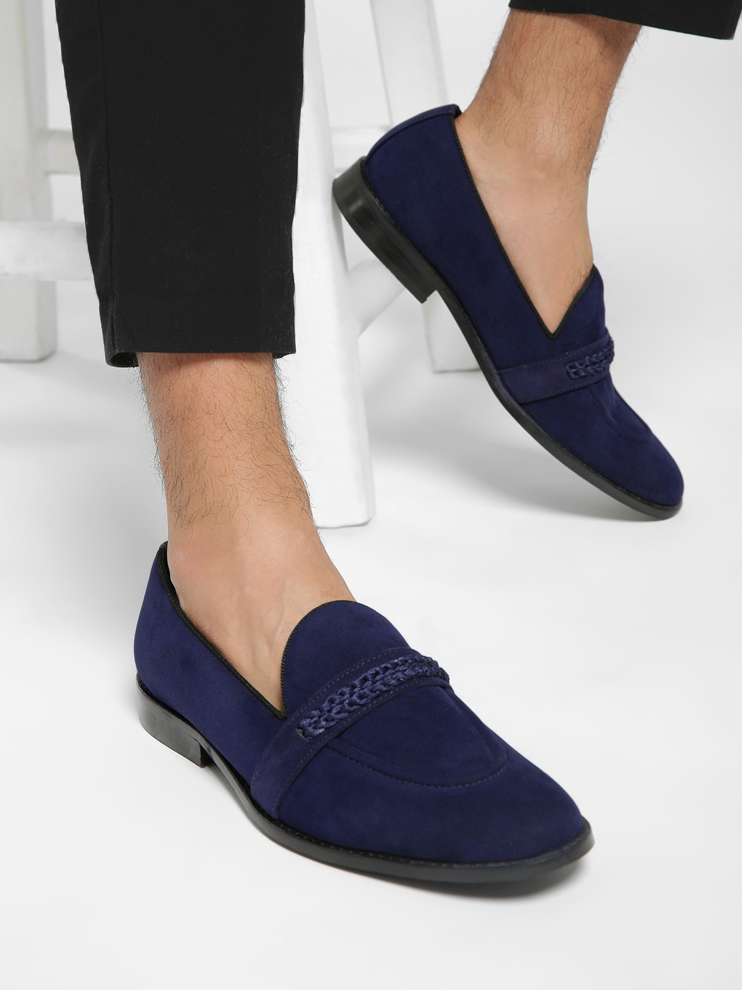 Griffin Blue Suede Knotted Penny Loafers 1