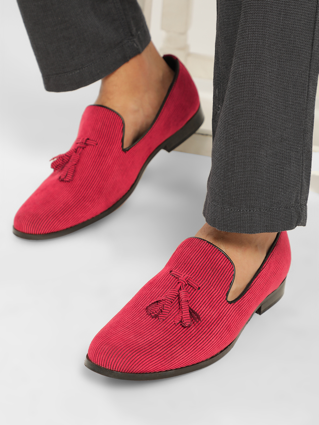 Griffin Red Corduroy Tassel Loafers 1