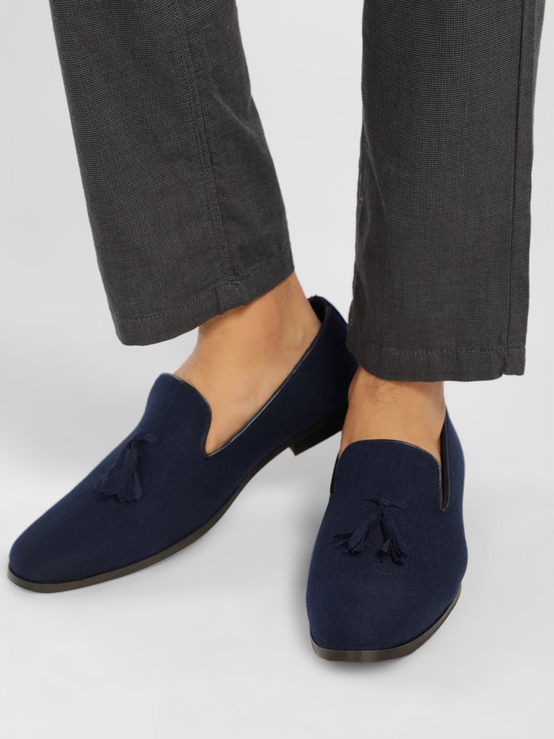 Griffin Blue Corduroy Tassel Loafers 1