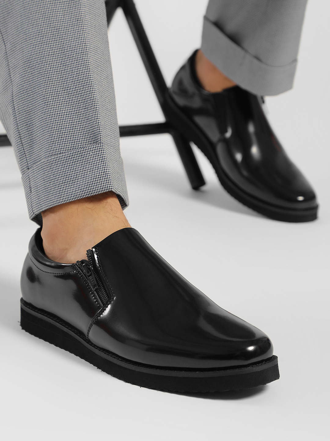 Griffin Black Patent Slip-On Shoes 1