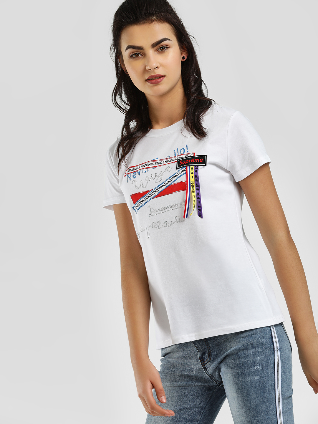 KOOVS White Slogan Crystal Embellished T-Shirt 1