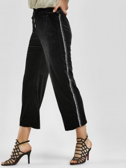 KOOVS Metallic Side Stripe Flared Joggers