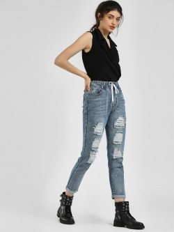 K Denim KOOVS Distressed Cropped Jeans