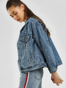 K Denim KOOVS Pearl Embellished Denim Jacket