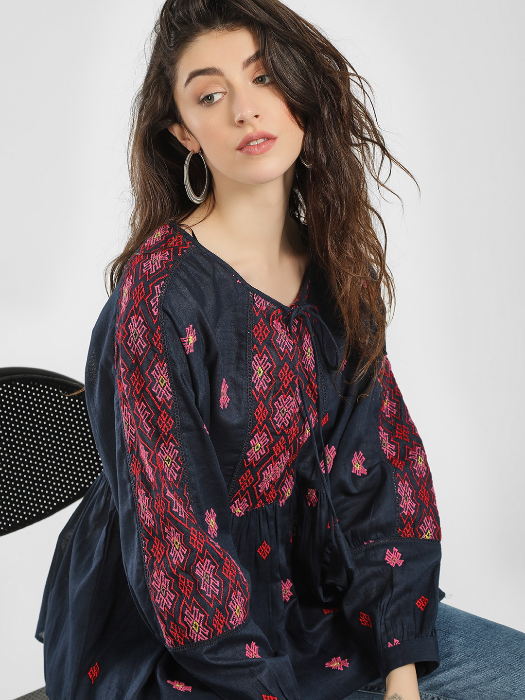KOOVS Navy Embroidered Tie-Up Blouse 1