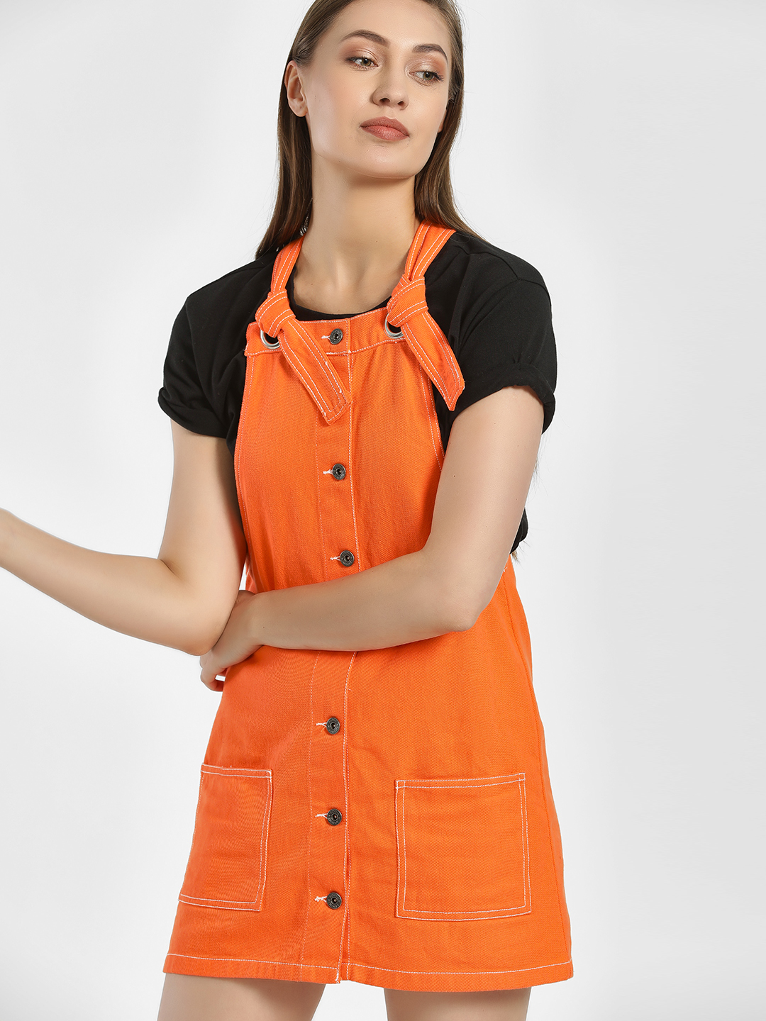 K Denim Orange KOOVS Front-Button Pinafore Dress 1