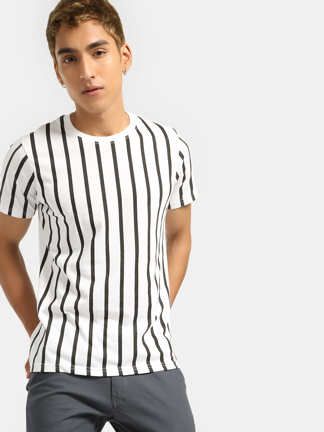 Blotch White Vertical Stripe Crew Neck T-Shirt 1
