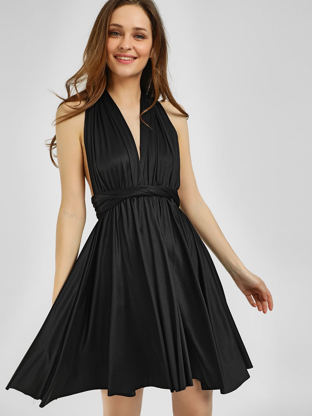 Origami Lily Black Infinity Wrap Skater Dress 1