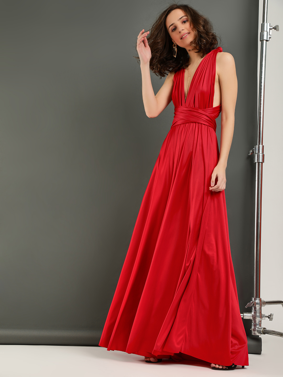 Origami Lily Red Infinity Wrap Maxi Dress 1