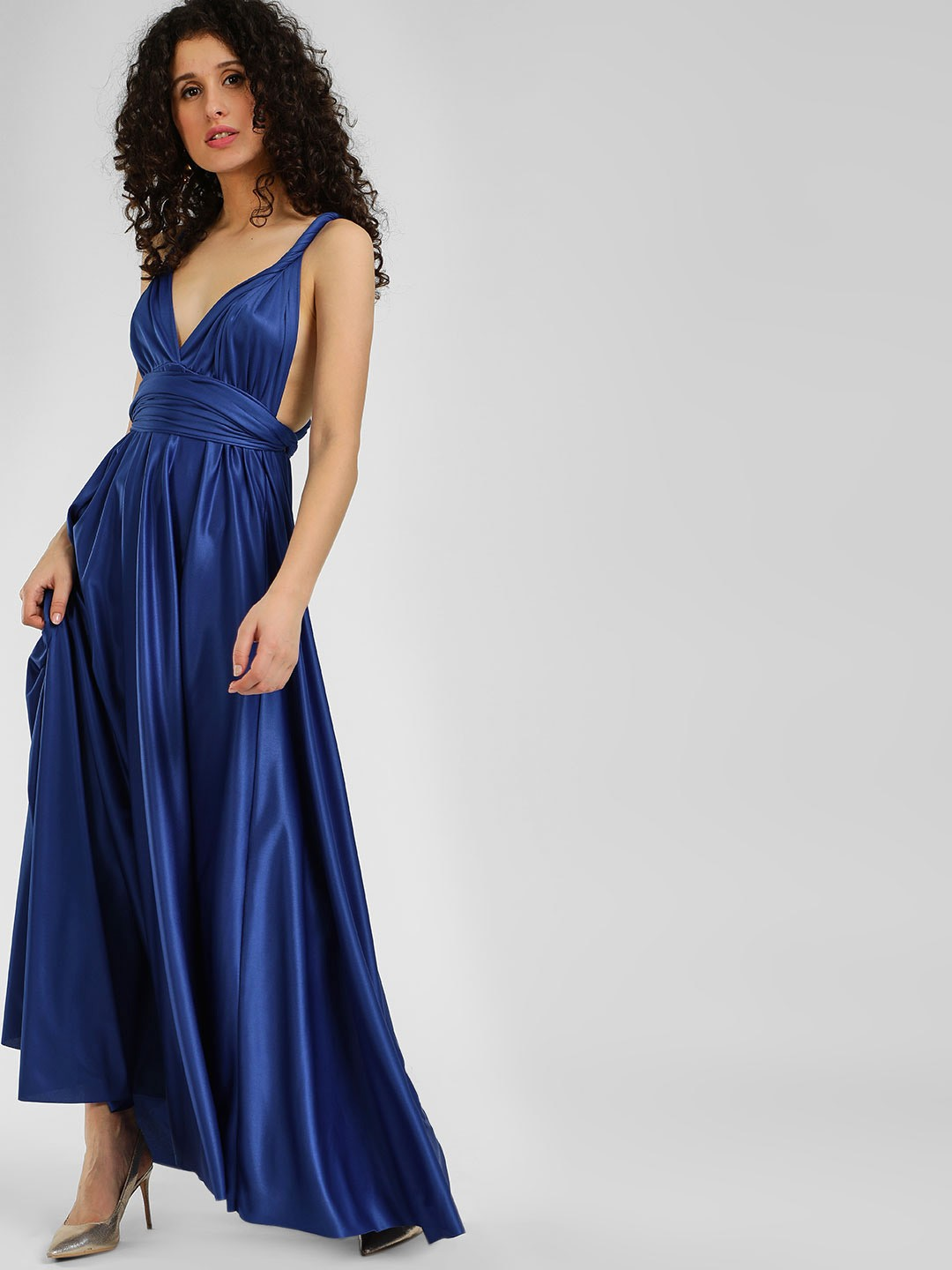 Origami Lily Blue Infinity Wrap Maxi Dress 1