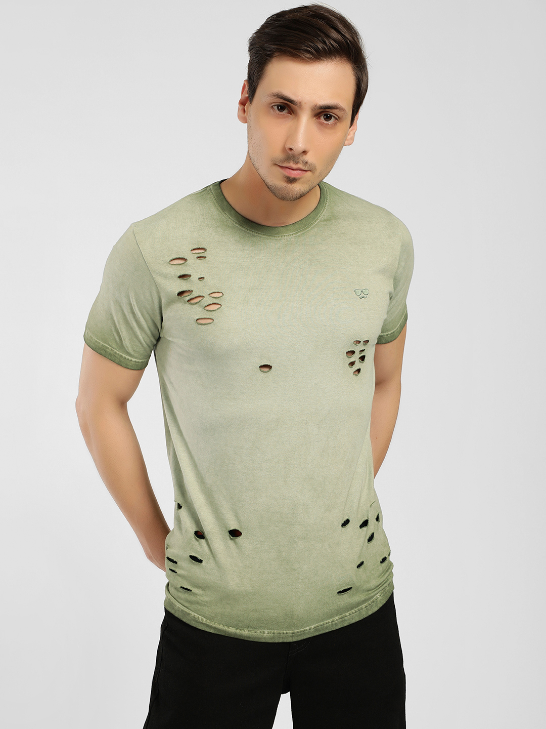 Garcon Green Lazer Cut Ombre Effect T-Shirt 1