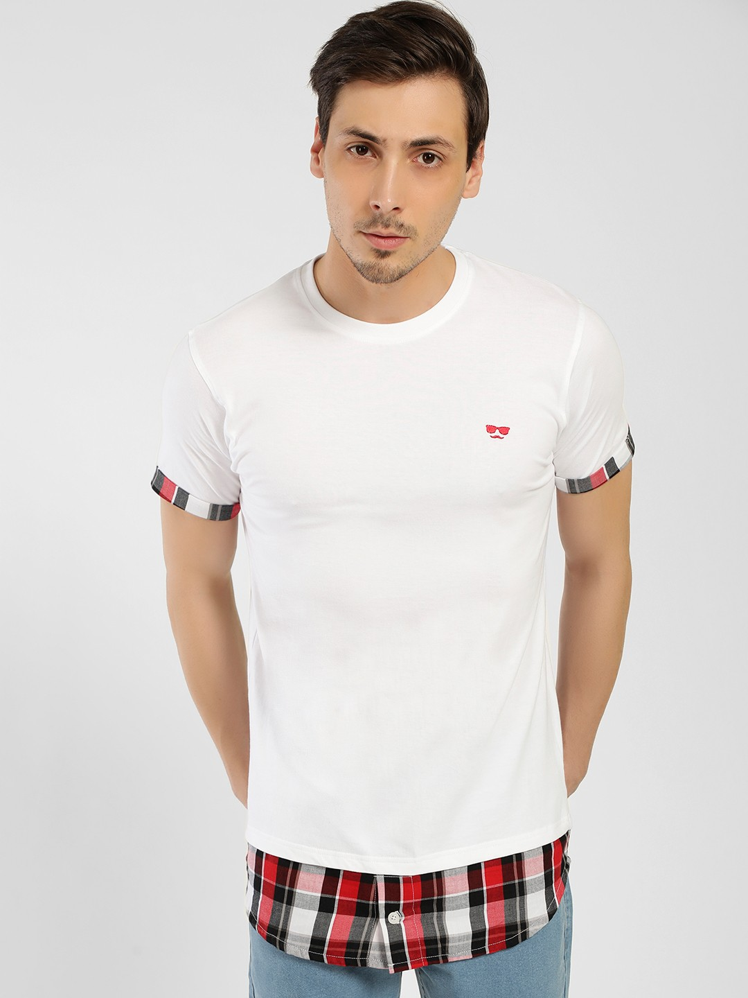 Garcon White Cut And Sew Check T-Shirt 1