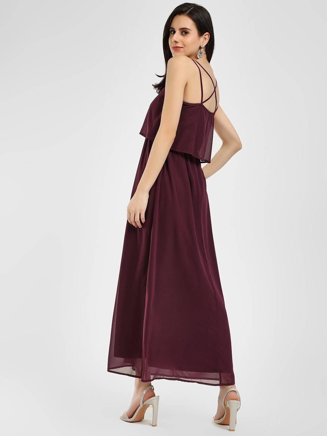 Femella Maroon Strappy Sleeveless Maxi Dress 1