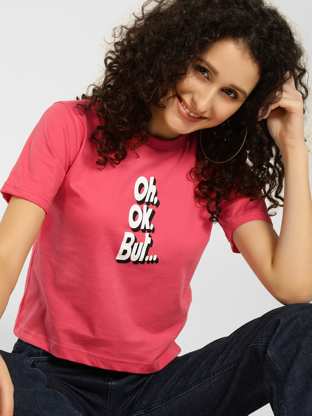 Spring Break Pink Slogan Print Crew Neck T-Shirt 1