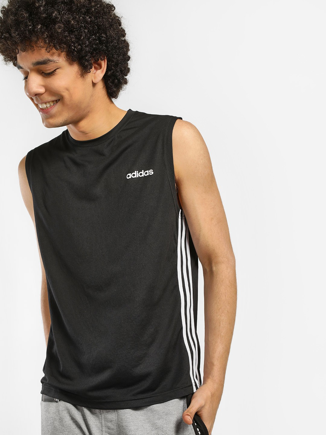 Adidas Black Design 2 Move 3 Stripes Vest 1