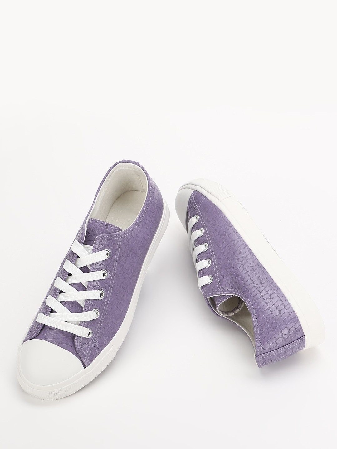 New Look Lilac Crocskin Lace-Up Sneakers 1
