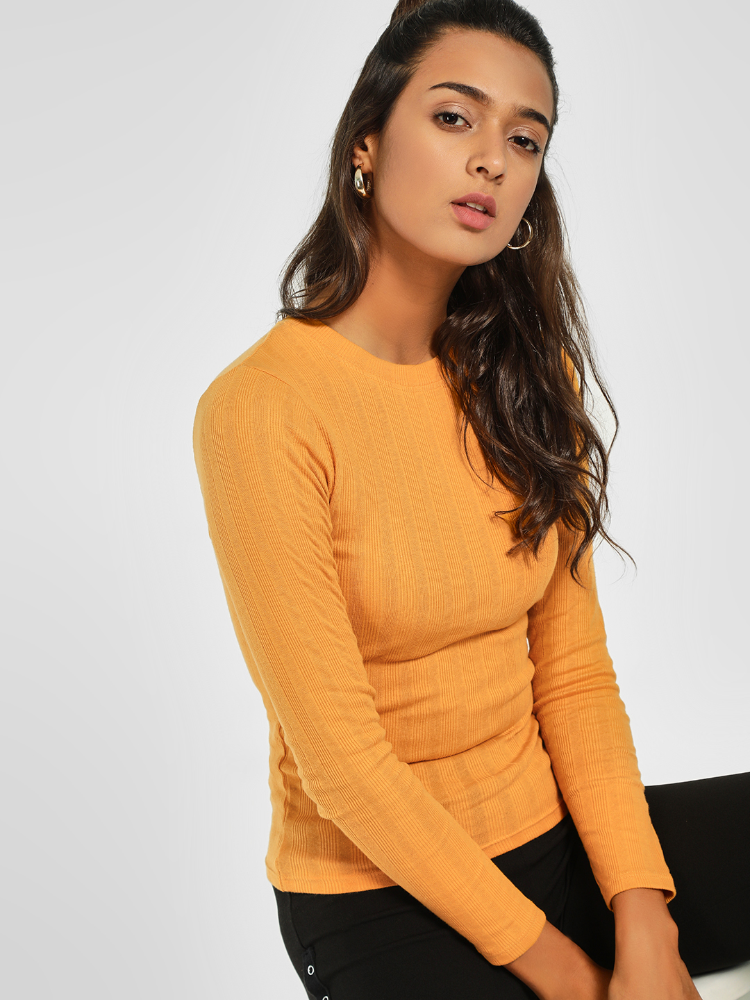 New Look Mustard Long Sleeve Ribbed Top 1