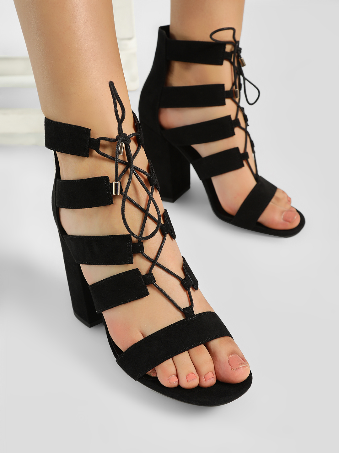 New Look Black Ghillie Lace-Up Block Heeled Sandals 1