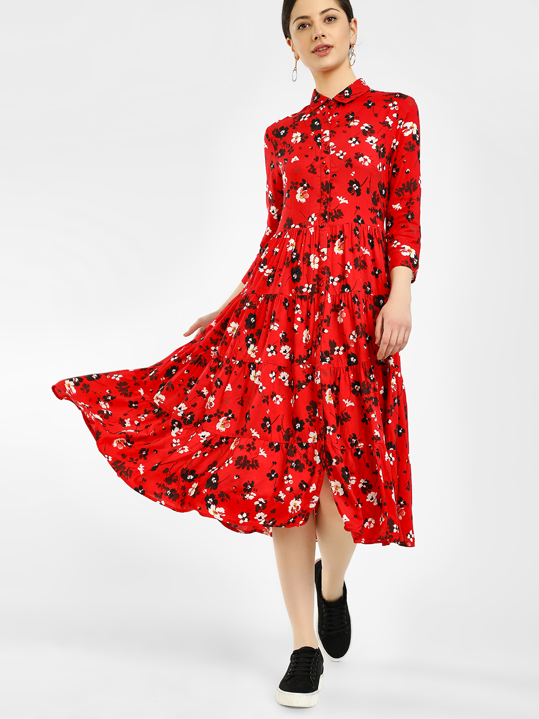 Femella Red Floral Print Tier Shirt Dress 1