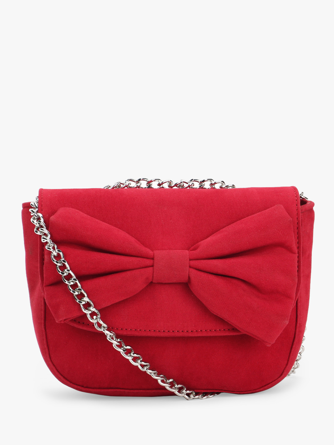 Paris Belle Red Suede Finish Bow Detail Sling Bag 1