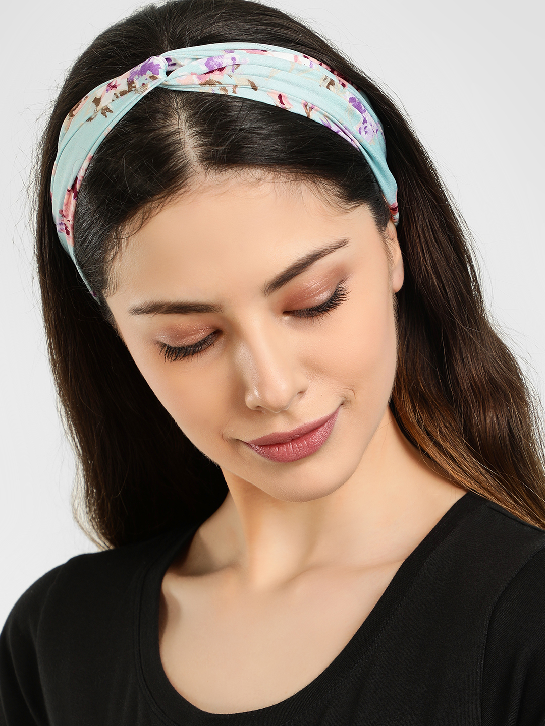 Blueberry Multi Floral Print Headband 1